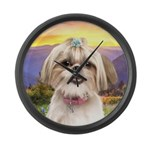 Shih Tzu Meadow Large Wall Clock