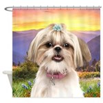 Shih Tzu Meadow Shower Curtain