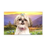 Shih Tzu Meadow Rectangle Car Magnet