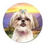 Shih Tzu Meadow Round Car Magnet
