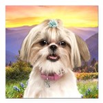 Shih Tzu Meadow Square Car Magnet 3