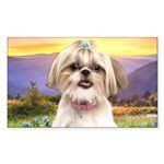 Shih Tzu Meadow Sticker (Rectangle)