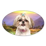 Shih Tzu Meadow Sticker (Oval 10 pk)