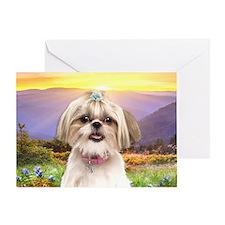 Shih Tzu Meadow Greeting Card