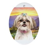 Shih Tzu Meadow Ornament (Oval)
