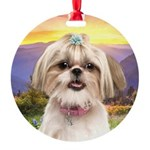 Shih Tzu Meadow Round Ornament