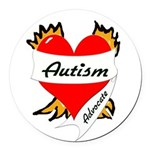 Autism Advocate Tattoo Heart Round Car Magnet