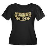 Queens Chick Women's Plus Size Scoop Neck Dark T-S