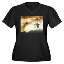 Volcano Disc Golf Women's Plus Size V-Neck Dark T-