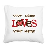 Personalized Love Square Canvas Pillow