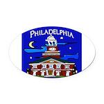 Philadelphia Starry Night Oval Car Magnet
