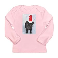 Micro pig with Santa hat Long Sleeve Infant T-Shir