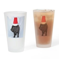 Santa micro pig square design Drinking Glass