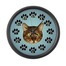 Bengal Cat Face On Blue Large Wall Clock