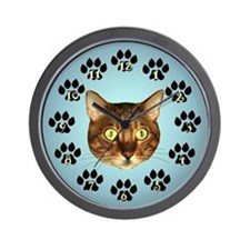 Bengal Cat Face On Blue Wall Clock