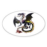 Black Chaos Dragon Oval Decal