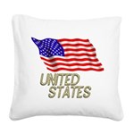 Flag of US e3 Square Canvas Pillow