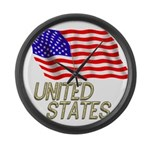 Flag of US e3 Large Wall Clock