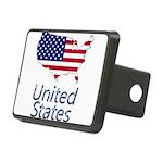 US flag map e3 Rectangular Hitch Cover