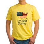 US flag map e3 Yellow T-Shirt