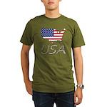 US flag map e2 Organic Men's T-Shirt (dark)