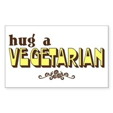 Hug A Vegetarian Rectangle Decal