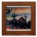 Desert, southwest landscape, art, Framed Tile