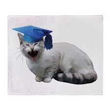 Cat Graduation Throw Blanket