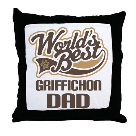 Griffichon Dog Dad Throw Pillow