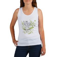 Be the Change - Green Vine - White Women's Tank To