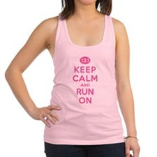 Keep Calm and Run On 13.1 Pink Racerback Tank Top