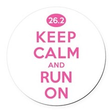 Keep Calm and Run On 26.2 Pink Round Car Magnet