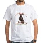 Doberman Flowers White T-Shirt