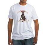 Doberman Flowers Fitted T-Shirt