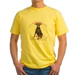 Doberman Flowers Yellow T-Shirt