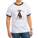 Doberman Flowers Ringer T