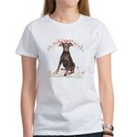 Doberman Flowers Women's T-Shirt