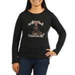 Doberman Flowers Women's Long Sleeve Dark T-Shirt