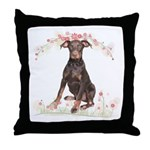 Doberman Flowers Throw Pillow