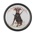 Doberman Flowers Large Wall Clock