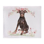 Doberman Flowers Throw Blanket