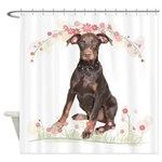 Doberman Flowers Shower Curtain