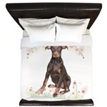 Doberman Flowers King Duvet