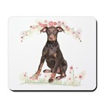 Doberman Flowers Mousepad