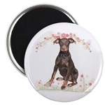 Doberman Flowers Magnet