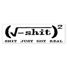 Shit Just Got Real Funny Math Bumper Sticker