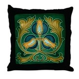 Throw Pillow with classic Art Nouveau poppy flower