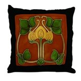 Throw Pillow with Art Nouveau flower circle