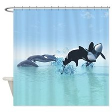 Dolphins and Orca's Shower Curtain