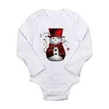 Cute Snowman in Red Velvet Long Sleeve Infant Body